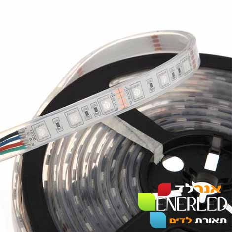 מפוארת פס לדים RGB מחליף צבעים 5050 12V הספק 14.4W - מוגן מים לטבילה IP68 MB-87