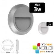 גוף קיר 3W מוגן מים IP65 דגם: בראבו עגול LED