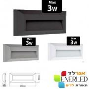גוף קיר\חומה 3W מוגן מים IP65 דגם: וואלי רפפה LED